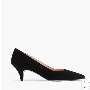 J crew Dulci V-cut kitten heels suede black 8.5